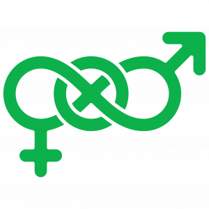 symbol with traditional male and female gender symbols linked with circle representing other identities