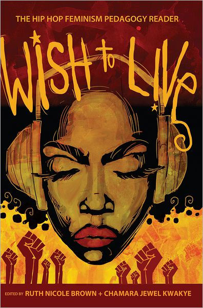 book cover featuring woman in headphones, icons of raised fists in the background