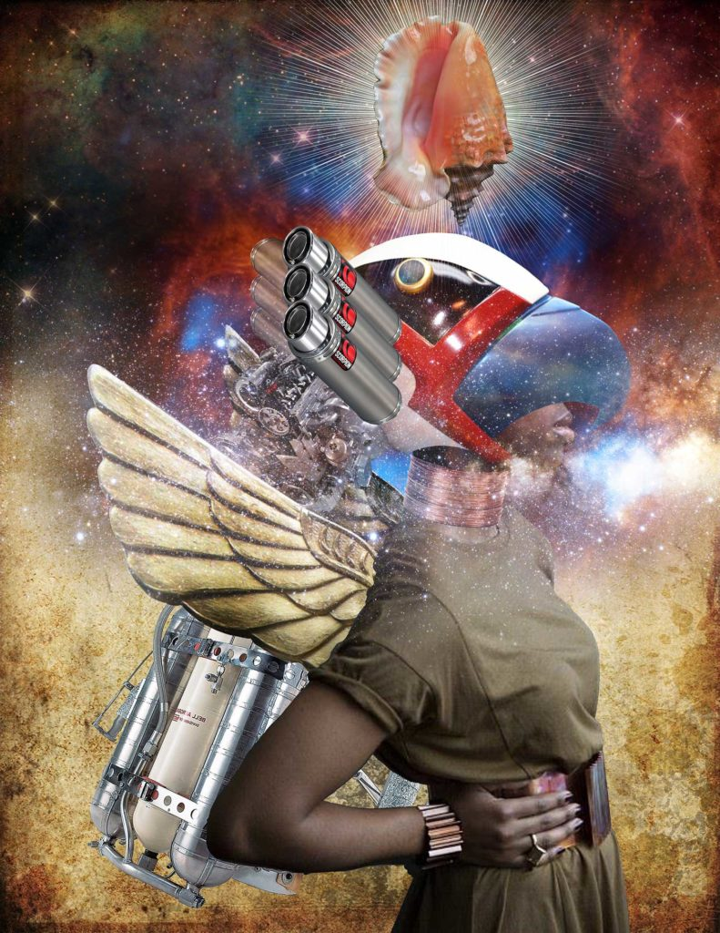 Futuristic, space-like, collage art of a black woman
